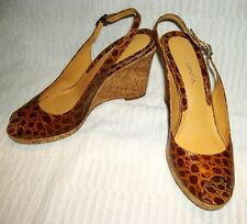 VIA SPIGA~Brown Faux Croc Leather Embossed Peep Toe Wedges Cork~Made in BRAZIL
