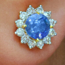 Sapphire Gemstone Diamond Stud Earrings 18K Gold Wedding Women's Gift  Jewelry