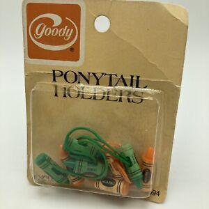 Vintage Goody Ponytail Holders Orange Green Crayons Pkg 4