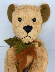 "Vtg DAN DEE Collectors Choice Bear 15"" Tan Brown Patches Buttons Fall Leaves EUC"