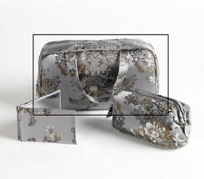 Satin Royale Cosmetic Travel Bag with Handles, Silver  (BAG1725)