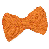 DQT Knit Knitted Plain Tangerine Casual Adjustable Pre-Tied Boys' Bow Tie