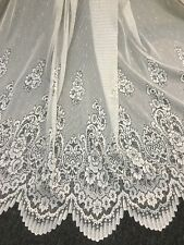Carol Anne  Lace Curtain -WHITE -213 cm drop Rod Pocket  -Beautiful -buy per m