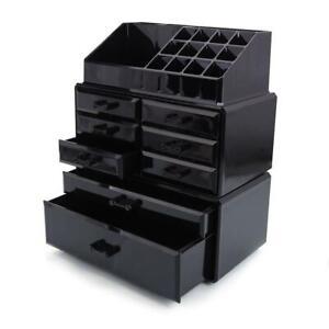8 Drawers Nail Polish Organizer Display Cosmetic Space Saving Storage Case Black