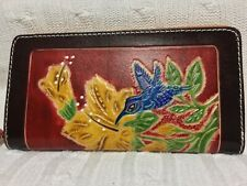 "HAND MADE EMBOSSED GENUINE LEATHER HUM- BIRD WALLET/CLUTCH/WRISTLET(4.0"" X 8.0"")"