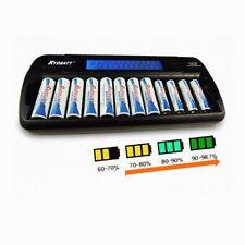 New 12 solts LCD Smart Battery Charger AA AAA Ni-MH Ni-Cd 12-bay 12-Slot 16-Bank