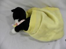 """Vtg Black Cat Yellow Blanket Lovey Hand Puppet Therapy Teachers Aid 20"""""""