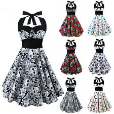 50s Womens Vintage Rockabilly Pinup Skull Print Halter Swing Evening Party Dress