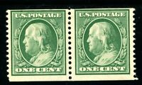USAstamps Unused FVF US 1909 Franklin 3mm Spacing Coil Pair Scott 352 OG MH