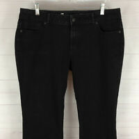 Liz Claiborne womens size 14 stretch solid black mid rise bootcut jeans in EUC