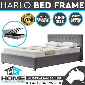 King Size Bed Frame Grey Fabric Metal Frame Gas Lift Storage Wooden Slats