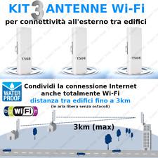 Kit 3 Antenne WiFi esterno alta potenza condivisione Internet fino a 3km