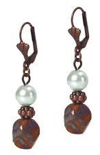 Antiqued Copper Dangle Beaded Fashion Earrings Brown Agate & Pearl Leverbacks