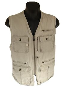 LL Bean Mens Womens LARGE Fishing Hunting Utility Camping Zipper Vest Pockets