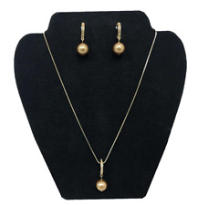 Gold Necklace and Earrings posts Set Made with Swarovski Crystals & pearl