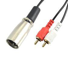 XLR Male to Composite 2 RCA Male Plug Stereo Audio Cable Cord 10cm