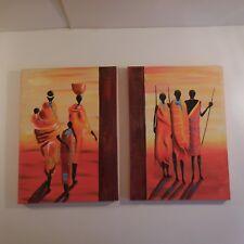 2 acrylic paints on cotton canvas toile coton châssis bois ethnic art african