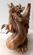 Drago in legno di suar scultura cm 17hx14x10 dragone realizzato a mano N 1