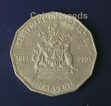 "2001 50 Cent "" Norfolk Island "" NL Centenary of Federation Australian 50c Coin"