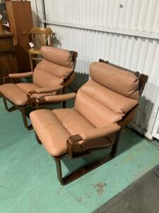 H37013 Vintage Tessa Pair of Leather Armchairs Chairs