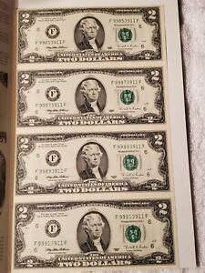 Sheet of 4 Uncut $2 Two Dollar Bills 1995 Bank  Washington DC  Collector Folder