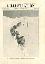 Chasseurs Alpins au Fréjus Modane Savoie Ravitaillement du Chalet GRAVURE 1902