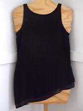 Womens Black Layered Chiffon Sleeveless Angled Hemline Top Sz.XS By White House