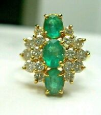 ESTATE 18K Y GOLD THREE EMERALD & DIAMOND ACCENT RING .85 CTS