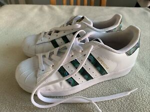 Women's Adidas Originals Superstar White Leather Peacock Trainers Size Uk 3.5