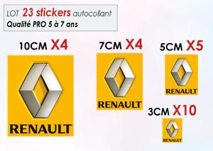 Lot 23 stickers autocollant RENAULT logo voiture (taille 3, 5, 7 et 10 cm) 013
