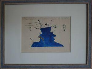 Franco Angeli serigrafia 2 Figure 17x13 firma timbro con cornice anni '80
