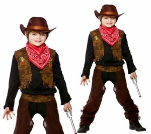 Boys Cowboy Brown Wild West Costume Kids Fancy Dress Outfit With Hat 3-10 Yrs