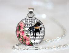Vintage Piano music Tibetan silver Dome Glass Art Chain Pendant Necklace