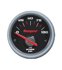 "Sunpro 2"" Electrical Oil Pressure Gauge Black / Aluminum Bezel 0-100 PSI CP7001"