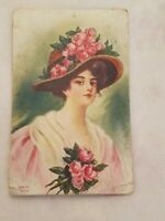 Vtg.  1900s Postcard Pretty Lady Wearing Straw Hat With Pink Roses & Dress 1911