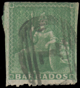 """BARBADOS 1859 (½p) PALE YELLOW GREEN PIN-PERF 12½ USED #12 barred oval 1"""" cancel"""