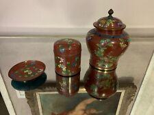Vintage Asian Cloisonne Enamel Vase Container and Plate Set.