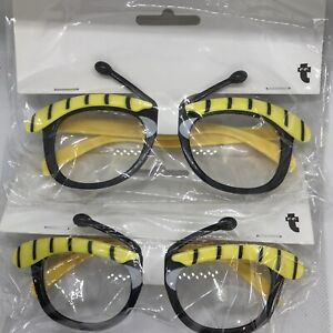Bumble Bee Fancy Dress Glasses Adult Size X 2 Pairs