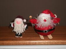 "Lot 2 Christmas Santa on Skis Skiing Figurine Ornament 4"" & 5"" Jingle Bell Decor"