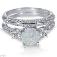 White Gold Sterling Silver Round Cut White Fire Opal Wedding Engagement Ring Set