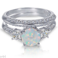 White Gold Sterling Silver Round Cut Fire Opal Wedding Engagement Ring Set