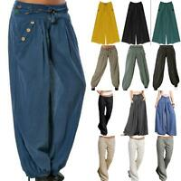 Women Ladies Palazzo Plain Flared Wide Leg Pants Hippie Boho Long Baggy Trousers