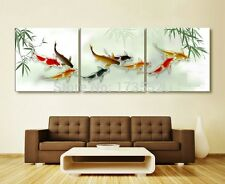 3piece Koi fish wall art chinese oil painting wall art on canvas unframed