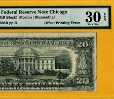 1977 $20 Federal Reserve Note Offset Printing Error | Pmg 30 Epq