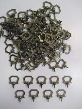 VTG NOS 100-Pcs Brass Picture Plaque Hanging Loop Hanger Screw Ring Deco Hooks