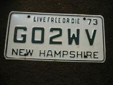 "1973 New Hampshire License Plate - Vanity - ""GO2WV"""