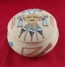 Vintage Navajo Traditional Sand Art Hand Painted Trinket Box