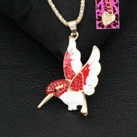 Betsey Johnson Enamel Crystal Cute Hummingbird Pendant Sweater Chain Necklace