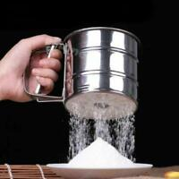 Mechanical Flour Sugar Icing Mesh Sifter Shaker Baking Kitchen Tool Stainless