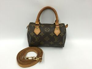 "Auth Louis Vuitton Vintage Monogram Mini Speedy hand bag with Strap 1C310070n"""